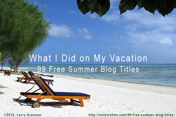 Creative Writing My Summer Vacation by Tyler Ritchie