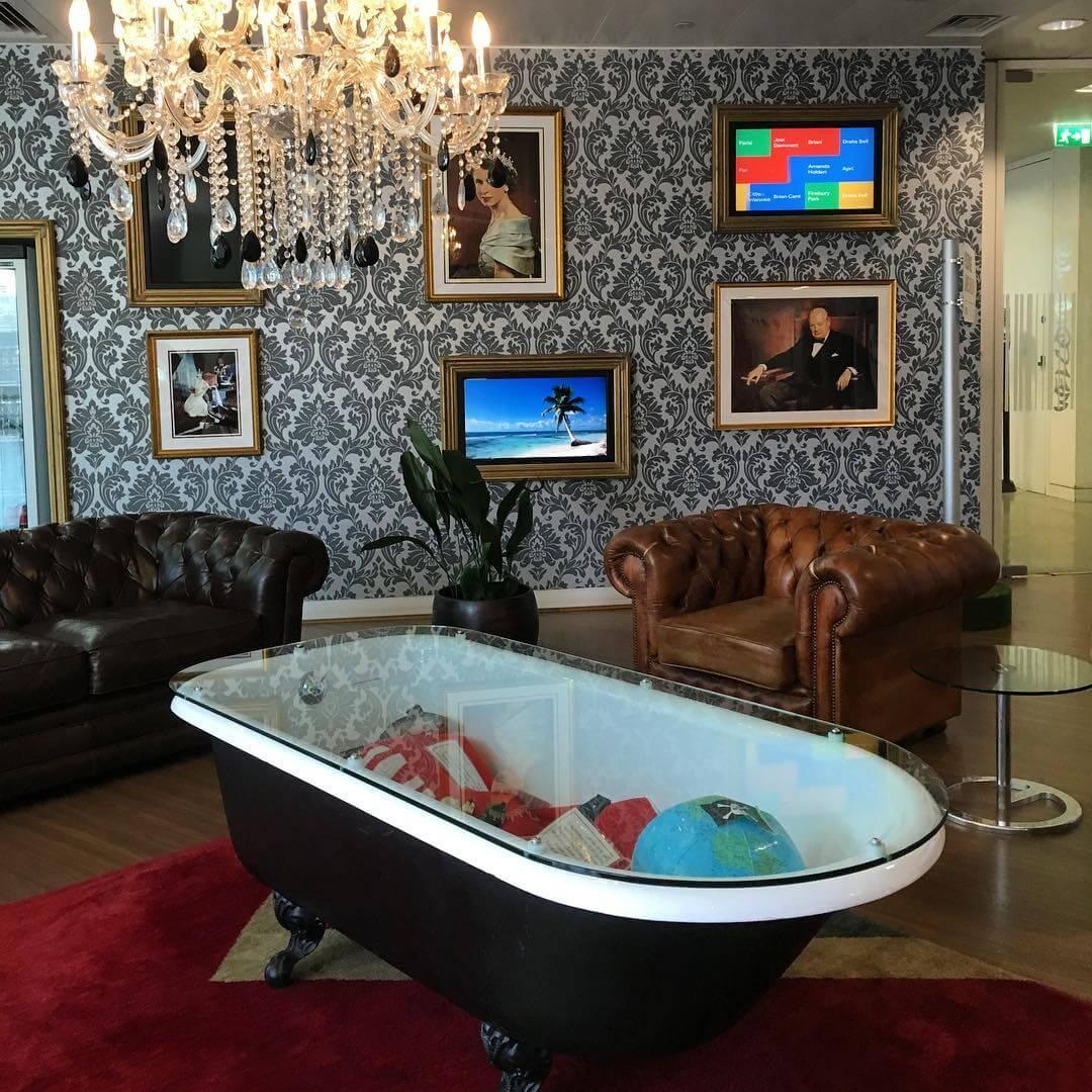 Google bathtub table, Bing lunchbox & YouTube stairs