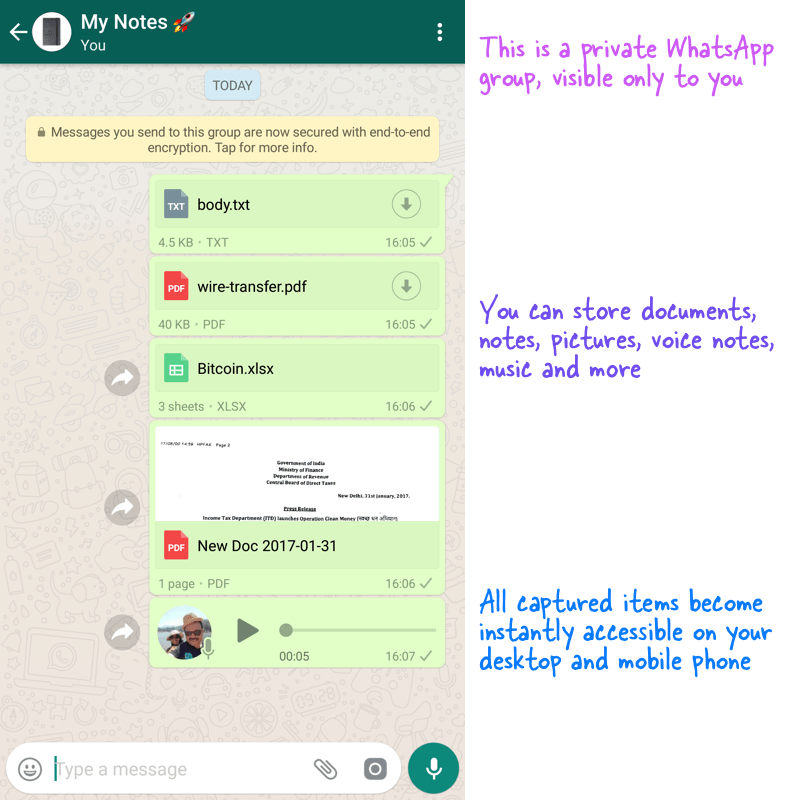 Using WhatsApp as a Private Store for your Documents and Notes