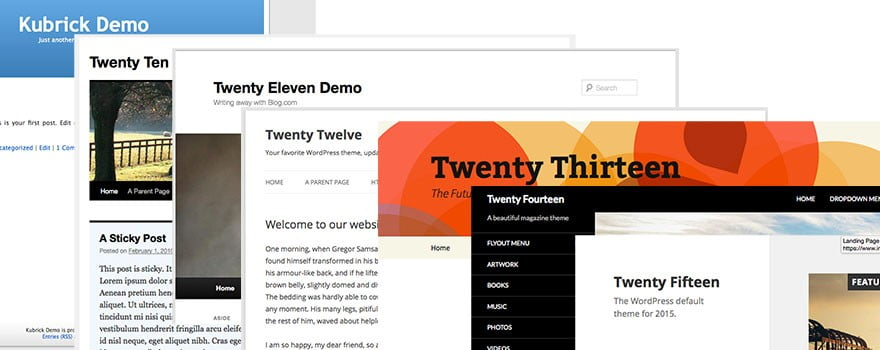 wordpress default theme through the ages