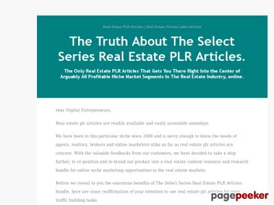 The Select Series Real Estate PLR Articles | The Select Series Real Estate Private Label Articles