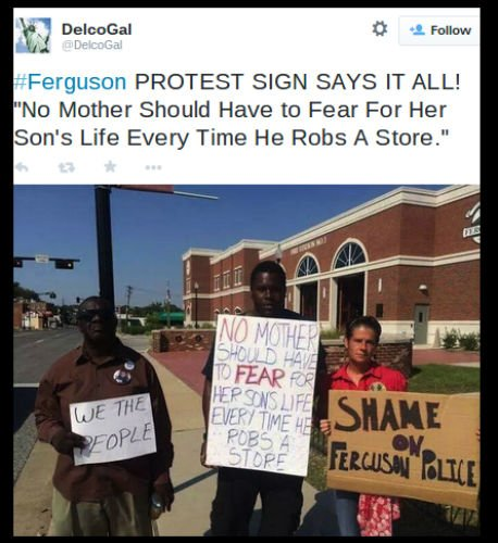 Ferguson, Mo., Protester Holding No Mother Should Fear Son's Life When He Robs a Store Sign Is A Fake