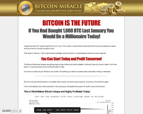 Bitcoin Miracle - Turn $15 Into $10,000 With ZERO Work