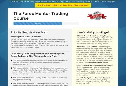 The Forex Mentor - one on one coaching application