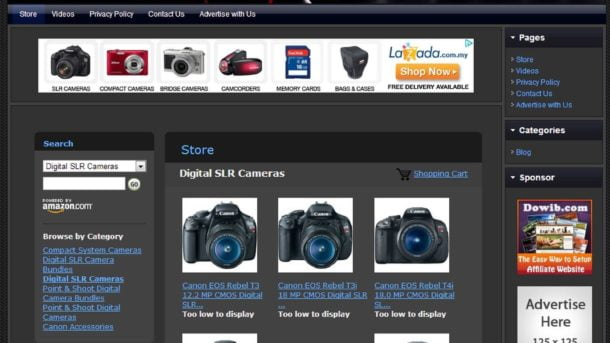 CANON CAMERA STORE - Online Affiliate Business Website For Sale FREE .Com Domain