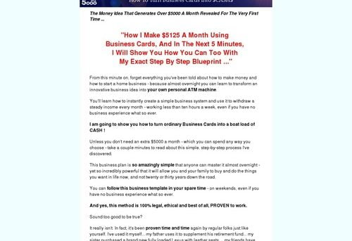 How To Make Money Fast - How To Turn Business Cards Into $5000