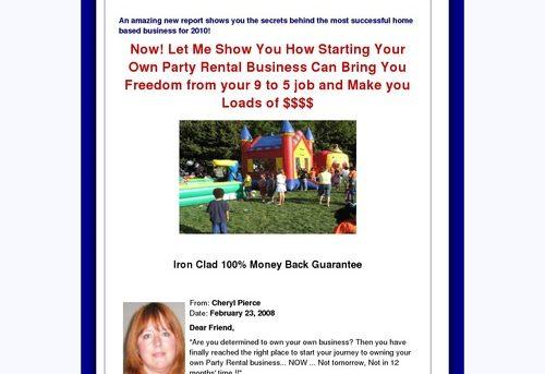 Start a Party Rental Business - Start a Party Rental Biz, Moonwalk Business, Bounce House Business