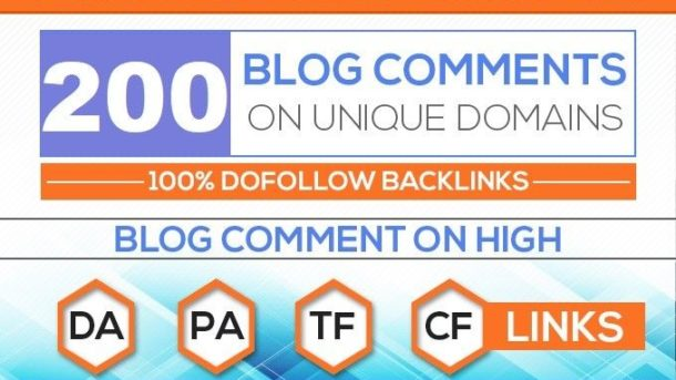 200 Unique Domains Manual Blog Comments Backlinks - All High DA + High PA -