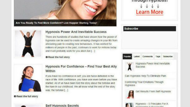 HYPNOSIS HELP BLOG / WEBSITE WITH AFFILIATES AND DOMAIN + HOSTING
