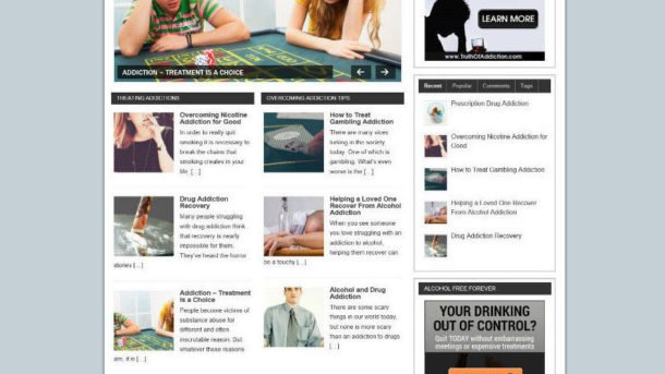 OVERCOMING ADDICTION BLOG WEBSITE WITH AFFILIATES AND NEW DOMAIN + HOSTING