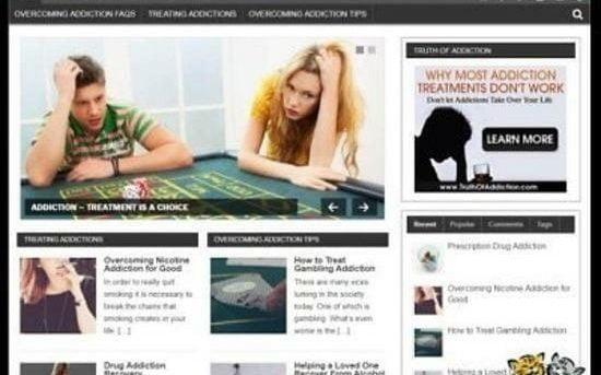 Overcoming Addiction  Niche Blog website Affiliate Income Free Hosting / Setup