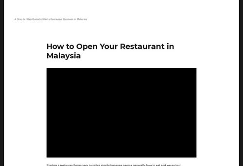 How to Open Your Restaurant in Malaysia