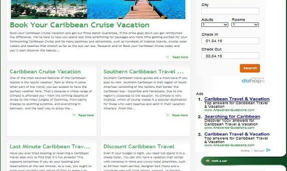 CARIBBEAN TRAVEL BOOKING WEBSITE w/TARGETED CONTENT! PLUG & PLAY WORDPRESS THEME