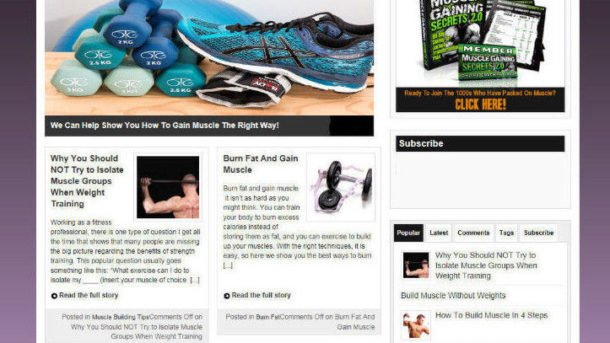 GAINING MORE MUSCLE WEBSITE & STORE WITH AFFILIATES + VIDE PAGES - PRO DESIGN