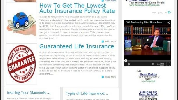 INSURANCE WEBSITE WITH TARGETED CONTENT and SEPARATE MOBILE OPTIMIZED WEBSITE