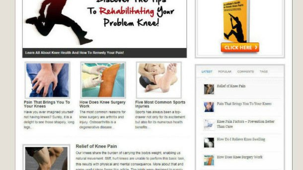 KNEE PAIN RELEIF BLOG & WEBSITE + AFFILIATE OPTIONS WITH NEW DOMAIN & HOSTING