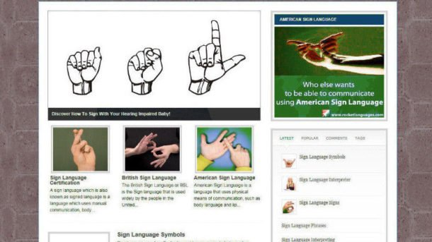 LEARN SIGN LANGUAGE ADVICE WEBSITE WITH AFFILIATES - FREE DOMAIN + PRO DESIGN