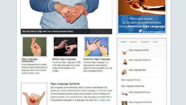 LEARN SIGN LANGUAGE WEBSITE BLOG WITH AFFILIATE STORE + BANNERS WITH FREE DOMAIN
