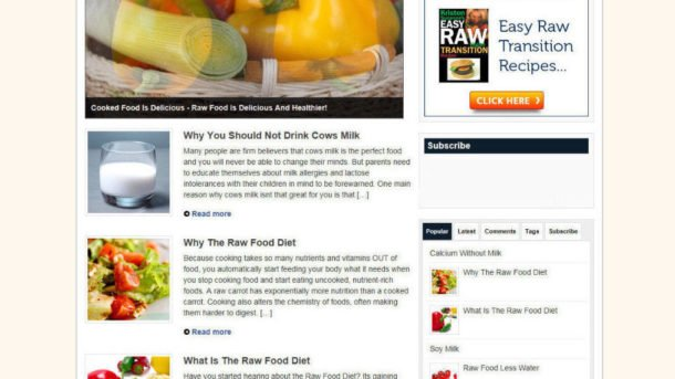 RAW FOOD DIET WEBSITE BLOG WITH AFFILIATE STORE + FREE DOMAIN & HOSTING