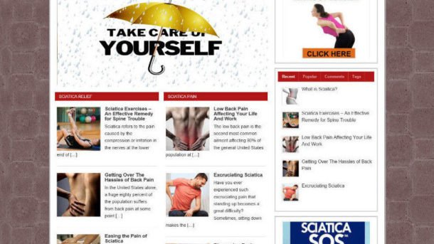 SCIATICA RELIEF ADVICE STORE WEBSITE WITH AFFILIATES  & VIDEO PAGES - PRO THEME