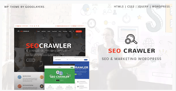 WordPress template SEO Crawler - Digital Marketing Agency, Social Media