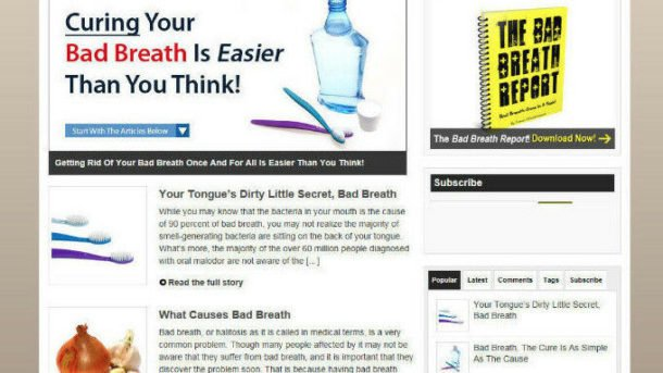 GET RID OF BAD BREATH HELP WEBSITE & STORE WITH AFFILIATES - PRO THEME + HOSTING