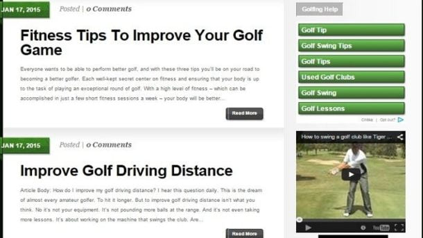 GOLF HELP BLOG WEBSITE BUSINESS FOR SALE! TARGETED CONTENT INCLUDED