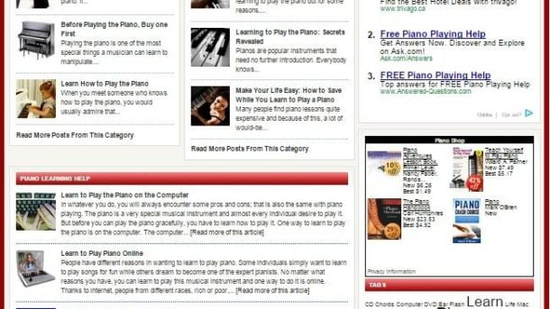 LEARN TO PLAY THE PIANO BLOG WEBSITE BUSINESS FOR SALE! FULLY DEVELOPED WEBSIT