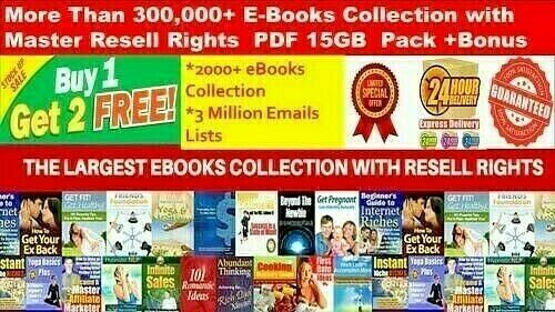 300,000+ E Books PLR Collection with MRR PDF+2000 Ebooks +3 Million Emails 15GB+