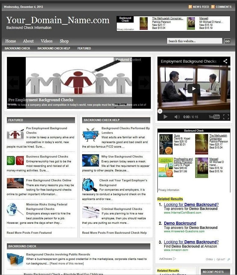 BACKGROUND CHECK WEBSITE BUSINESS and DOMAIN FOR SALE! TARGETED CONTENT INCLUDED