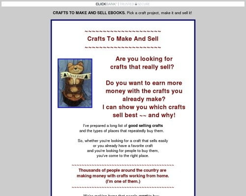 CRAFTS TO MAKE AND SELL EBOOKS. Pick a craft project, make it & sell it!