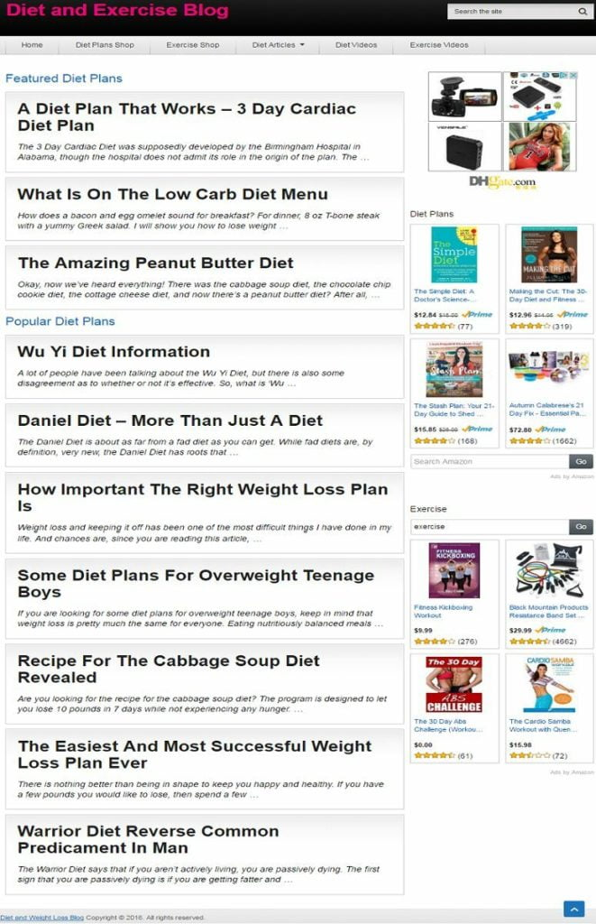 DIET PLANS BLOG and EXERCISE SHOP WEBSITE BUSINESS FOR SALE! FULLY DEVELOPED