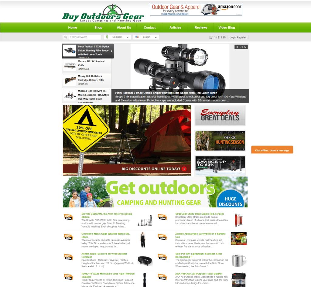 Established Profitable 5,400+ CAMPING & HUNTING Gear Turn-Key Website For Sale