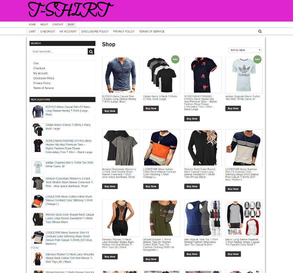 FULLY STOCKED T-SHIRT WEBSITE WITH NEW DOMAIN & ONE YEARS HOSTING - ECOMMERCE