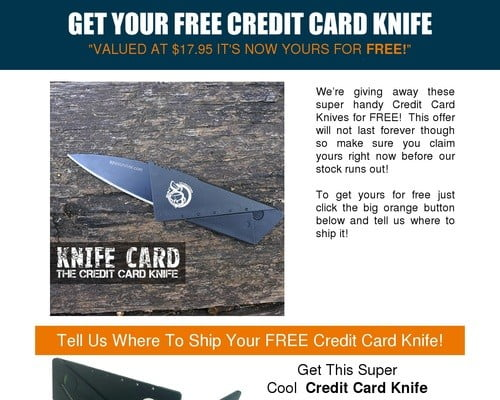 Give Away Our Knife Card And Earn Recurring Commissions!