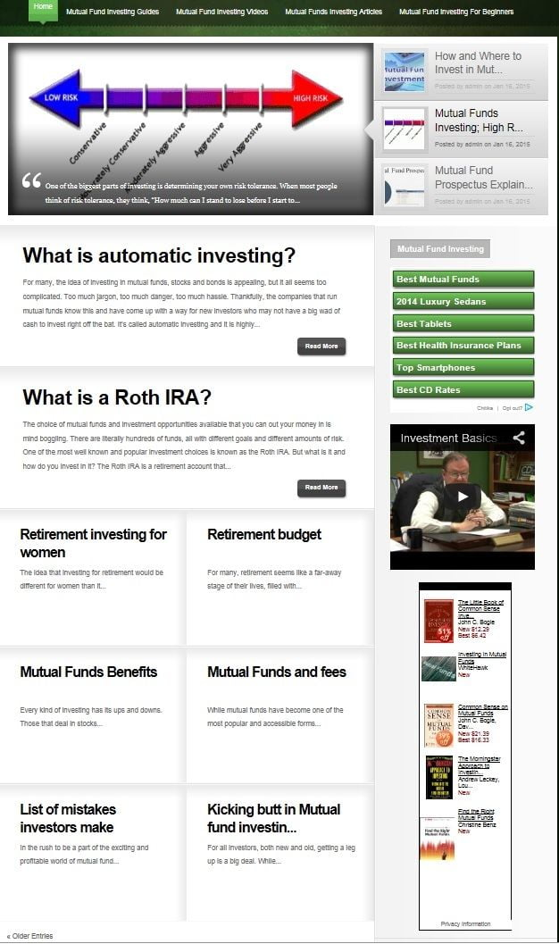 MUTUAL FUNDS INVESTING BLOG WEBSITE BUSINESS FOR SALE! WITH CONTENT FOR SEO!