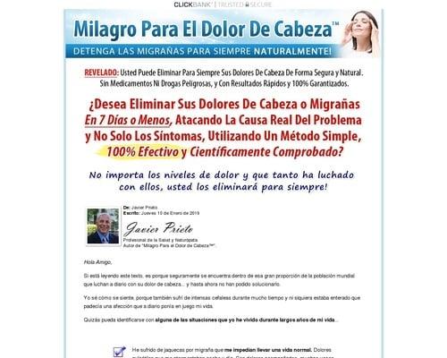 Milagro Para el Dolor de Cabeza™   Detenga las Migrañas Para Siempre Naturalmente!
