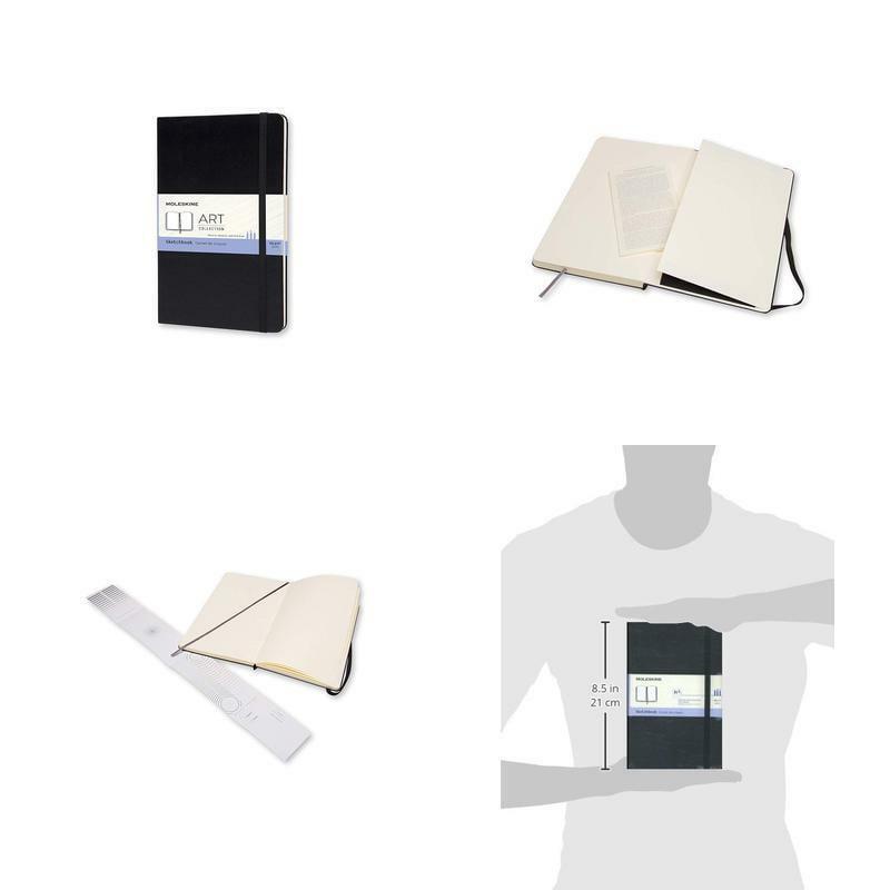 """Moleskine Art Plus Hard Cover Sketchbook, Plain, Large (5"""" X 8.25"""") Black - Sket"""