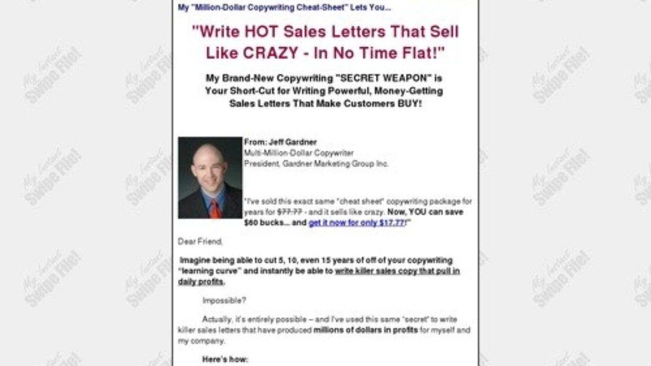 My Instant Swipe File! Write Million Dollar Sales Copy
