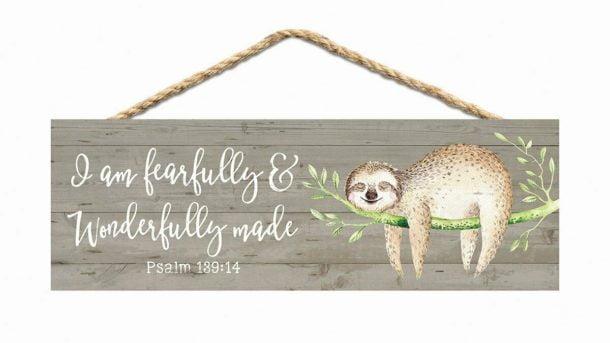P. Graham Dunn Fearfully  Wonderfully Made Sloth Grey 10 X 3.5 Inch Wood Slat H