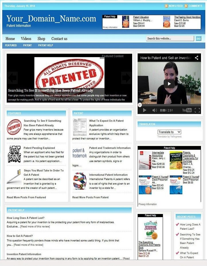 PATENT and TRADEMARK BLOG WEBSITE BUSINESS FOR SALE! TARGETED CONTENT INCLUDED