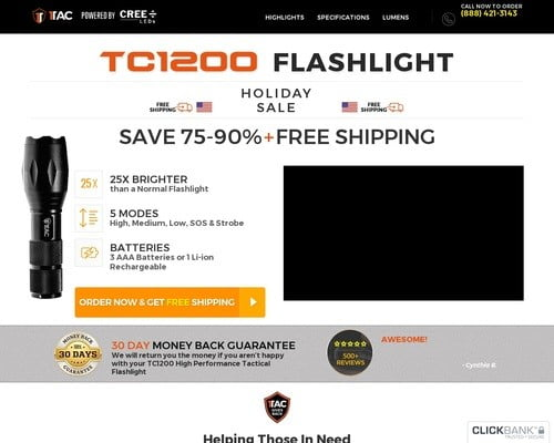 TC1200 Tactical Flashlight | 1Tac.com