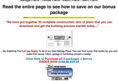 www.Hplans.us Garage, House, Cabin, Shed, Playhouse, Greenhouse & Barn Plans