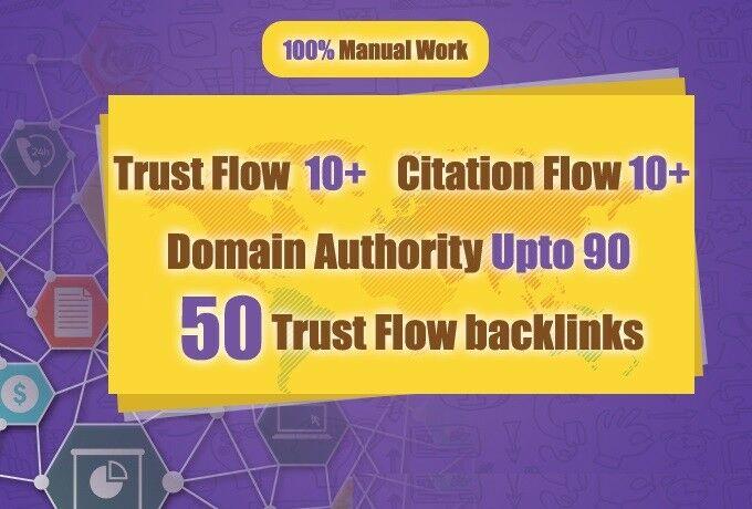 50 High Authority Dofollow Trust Flow Backlinks