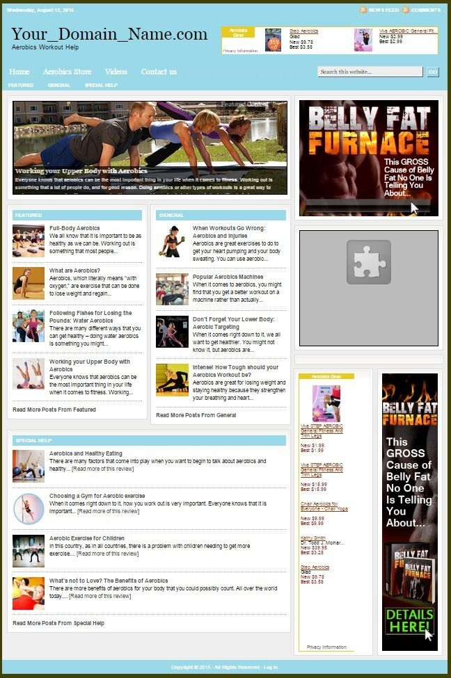 AEROBICS WORKOUT WEBSITE BUSINESS FOR SALE! TARGETED SEO CONTENT INCLUDED