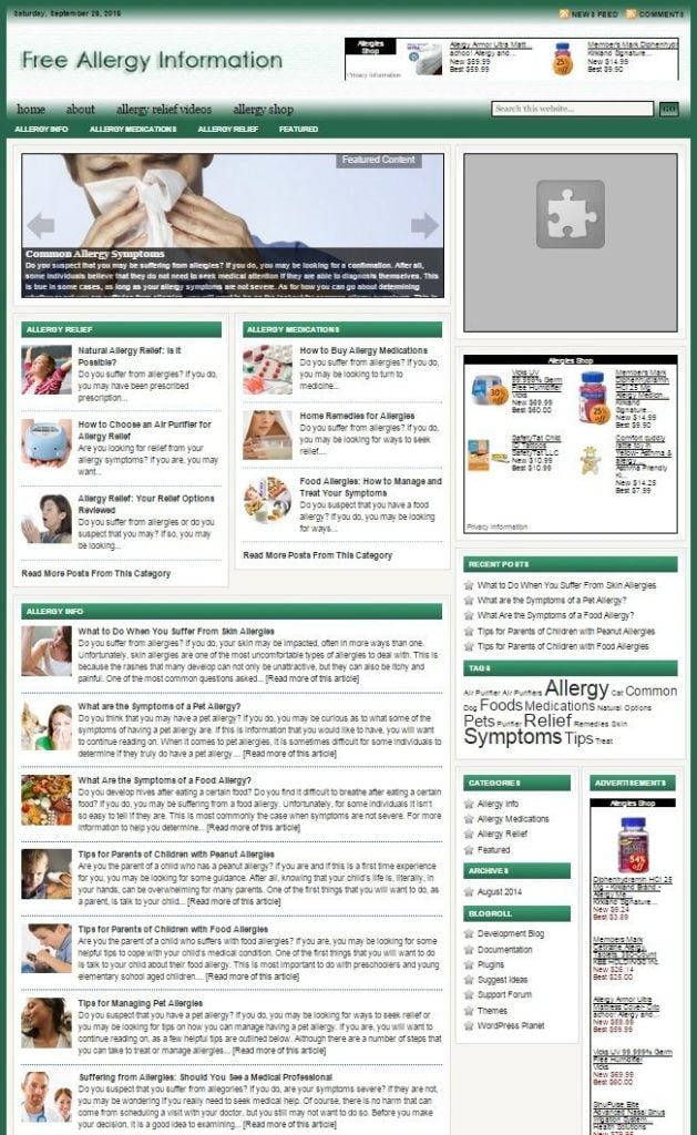 ALLERGY REMEDIES SHOP WEBSITE BUSINESS FOR SALE! with TARGETED SEO CONTENT