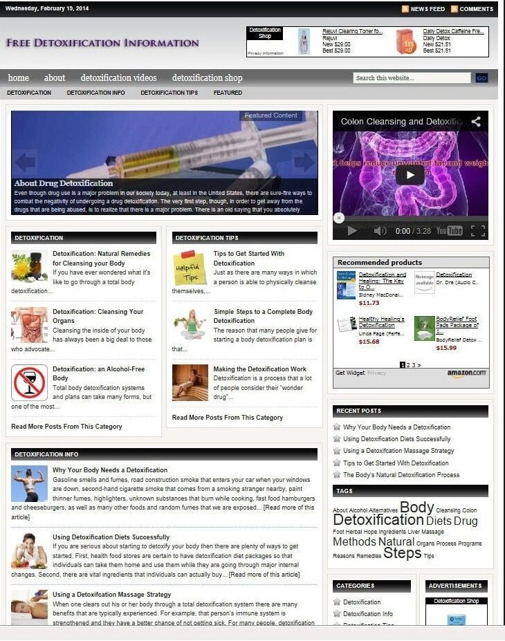 AMAZING DETOX & CLEANSING BLOG WEBSITE BUSINESS FOR SALE! WITH TARGETED CONTENT