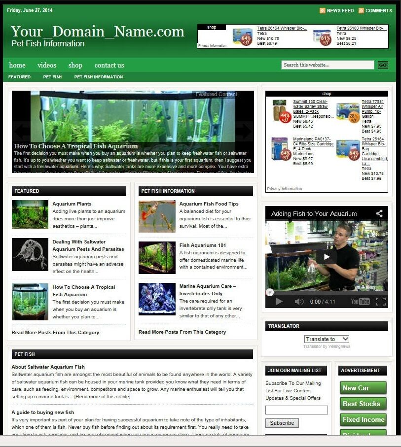 AQUARIUMS and PET FISH BLOG WEBSITE BUSINESS FOR SALE! with TARGETED SEO CONTENT