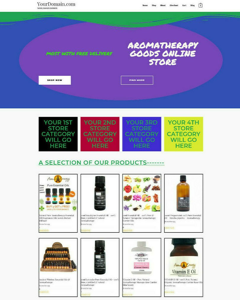 AROMATHERAPY WEBSITE E COMMERCE HOME BUSINESS - NEW DOMAIN - HOSTING
