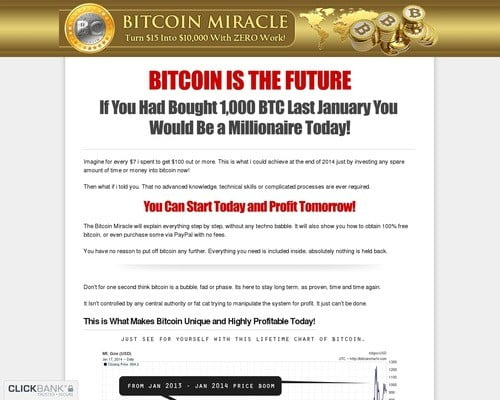 Bitcoin Miracle - Turn $15 Into $10,000 With Zero Work!